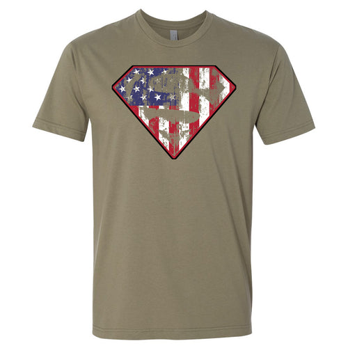 Standard Issue Diamond S Logo American Flag Distressed Military Green Grunt Life T-Shirt