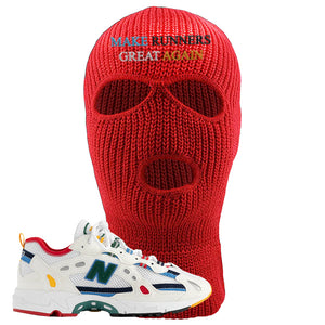 Aime Leon Dore X New Balance 827 Abzorb Multicolor 'White' Ski Mask | Red, Make Runners Great Again Basic