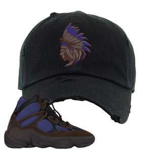 Yeezy 500 High Tyrian Distressed Dad Hat | Brown, Indian Chief