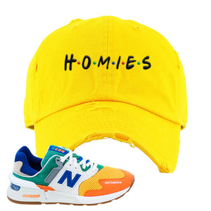 997S Multicolor Sneaker Yellow Distressed Dad Hat | Hat to match New Balance 997S Multicolor Shoes | Homies