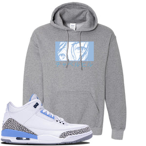 Jordan 3 UNC Sneaker Graphite Heather Pullover Hoodie | Hoodie to match Nike Air Jordan 3 UNC Shoes | Chapel Hill Japanese