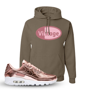 Air Max 90 WMNS 'Medal Pack' Rose Gold Sneaker Khaki Pullover Hoodie | Hoodie to match Nike Air Max 90 WMNS 'Medal Pack' Rose Gold Shoes | Vintage Oval