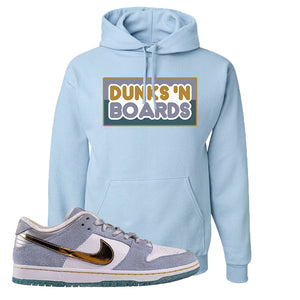 Sean Cliver x SB Dunk Low Hoodie | Dunks N Boards, Light Blue