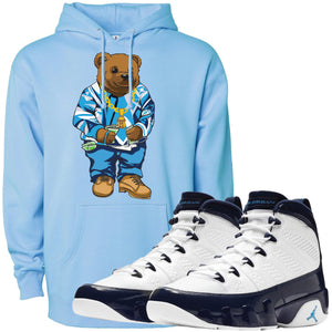 Wear your Jordan 9 All Star UNC Blue Pearl sneaker matching hoodie to match your pair of Jordan 9 All Star UNC Blue Pearl sneakers