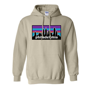 Philagonia Hoodie | Philagonia Skyline Natural Sweatshirt the front of this pullover hoodie has the philagonia design
