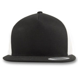 Black on White Trucker Mesh-Back Snapback Hat