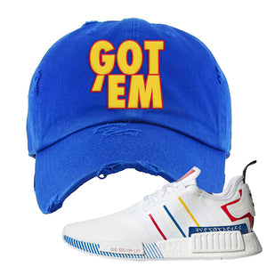 NMD R1 Olympic Pack Distressed Dad Hat | Royal Blue, Got Em