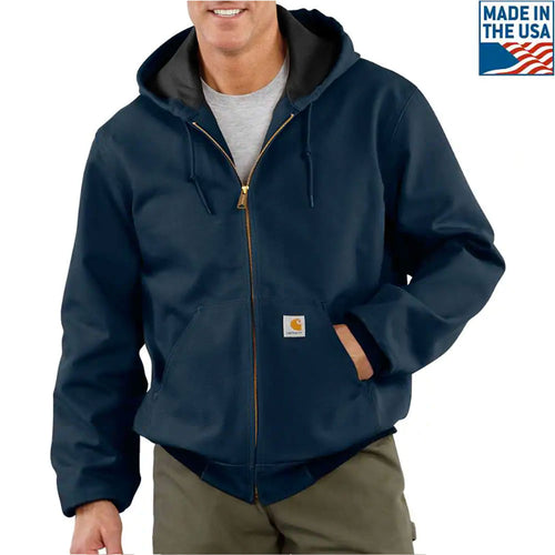 The carhartt navy blue jacket is solid navy blue