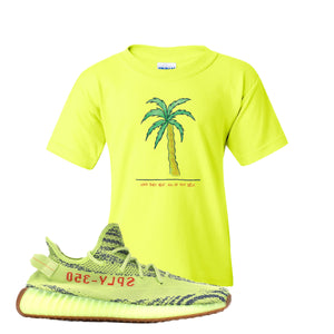 Love Thyself Palm Safety Green Kid's T-Shirt to match Yeezy Boost 350 V2 Frozen Yellow Sneaker