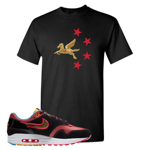 Air Max 1 NYC Chinatown Pegasus With Chinese Stars Black T-Shirt To Match Sneakers