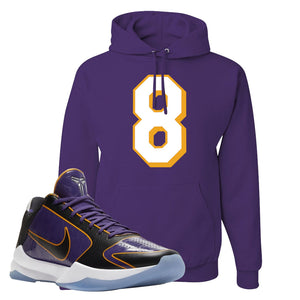 Kobe 5 Protro 5x Champ Hoodie | Number 8, Deep Purple