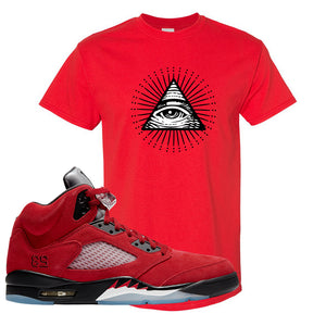 Air Jordan 5 Raging Bull T Shirt | All Seeing Eye, Red