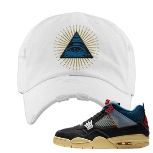 Union LA x Air Jordan 4 Off Noir Distressed Dad Hat | All Seeing Eye, White