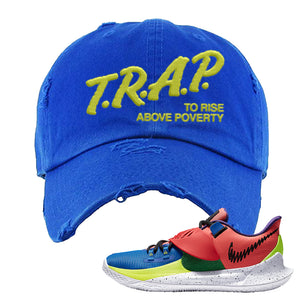 Kyrie Low 3 NY vs NY Distressed Dad Hat | Trap To Rise Above Poverty, Royal Blue
