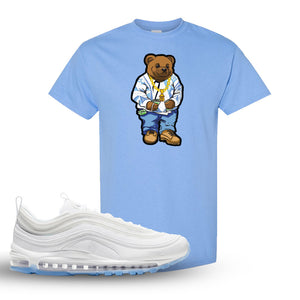 Air Max 97 White/Ice Blue/White Sneaker Carolina Blue T Shirt | Tees to match Nike Air Max 97 White/Ice Blue/White Shoes | Sweater Bear