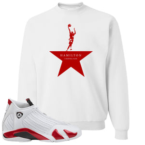 Jordan 14 Rip Hamilton Basketball Star White Crewneck Sweater