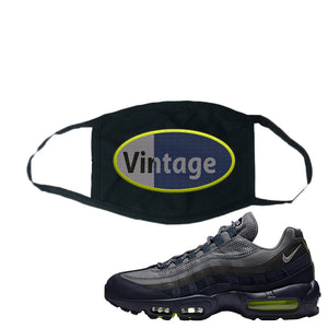 Air Max 95 Midnight Navy / Volt Face Mask | Black, Vintage Oval