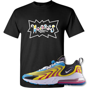 Hood Rats Black T-Shirt to match Air Max 270 React ENG Laser Blue Sneakers