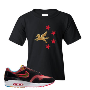 Air Max 1 NYC Chinatown Pegasus With Chinese Stars Black Kid's T-Shirt To Match Sneakers