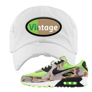 Air Max 90 Duck Camo Ghost Green Distressed Dad Hat | White, Vintage Oval