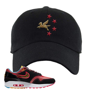 Air Max 1 NYC Chinatown Pegasus With Chinese Stars Black Dad Hat To Match Sneakers