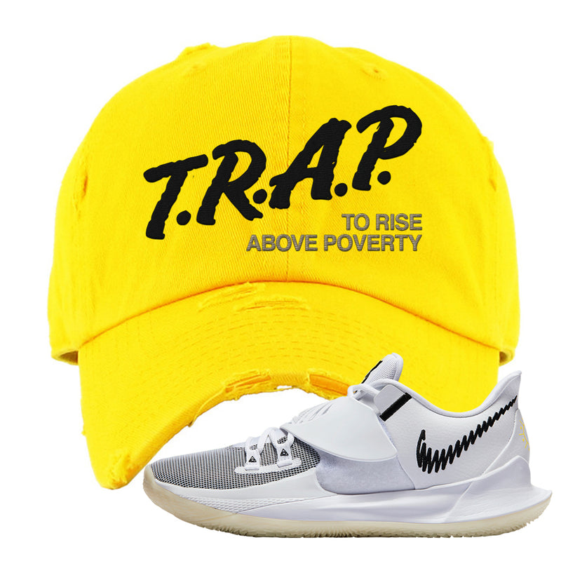 Kyrie Low 3 Distressed Dad Hat | Yellow, Trap To Rise Above Poverty