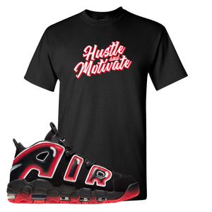 Air More Uptempo Laser Crimson Hustle & Motivate Black Sneaker Hook Up Men's T-Shirt
