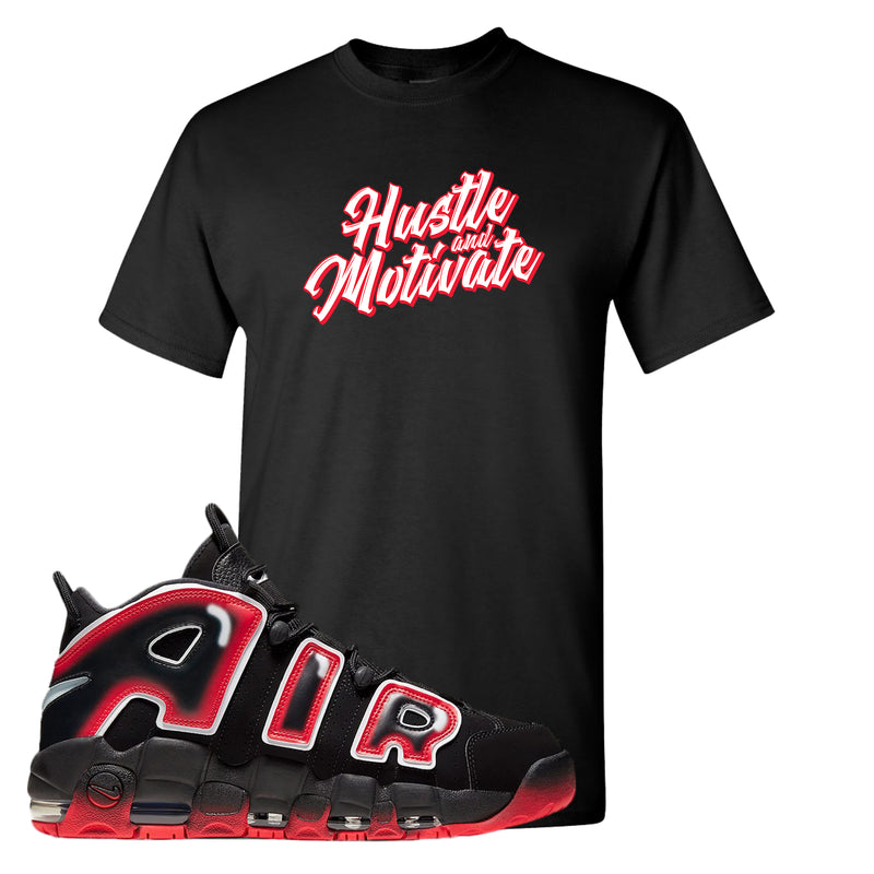 Air More Uptempo Laser Crimson T Shirt | Black, Hustle & Motivate
