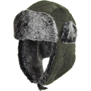 the vegan fur olive corduroy trapper hat has a gray faux fur interior and a olive green corduroy exterior