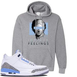 Jordan 3 UNC Sneaker Graphite Heather Pullover Hoodie | Hoodie to match Nike Air Jordan 3 UNC Shoes | Intense Feelings