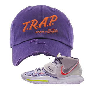 Kyrie 6 Asia Irving Distressed Dad Hat | Trap To Rise Above Poverty, Purple