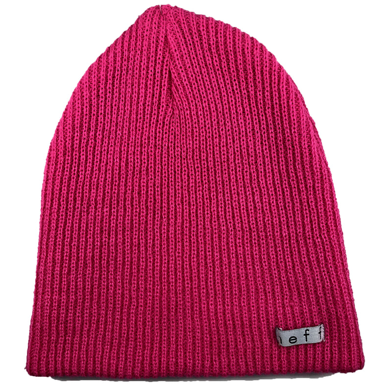 this loose knit daily neff beanie is a bright magenta color and has the neff label stitched in white and black