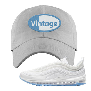 Air Max 97 White/Ice Blue/White Sneaker Light Gray Dad Hat | Hat to match Nike Air Max 97 White/Ice Blue/White Shoes | Vintage Oval