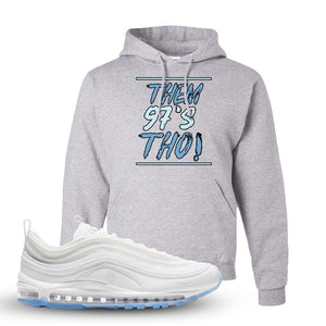 Air Max 97 White/Ice Blue/White Sneaker Ash Pullover Hoodie | Hoodie to match Nike Air Max 97 White/Ice Blue/White Shoes | Them 97's Tho