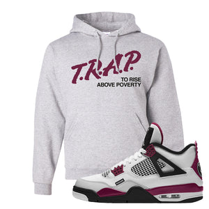 Air Jordan 4 PSG Paname Pullover Hoodie | Trap To Rise Above Poverty, Ash