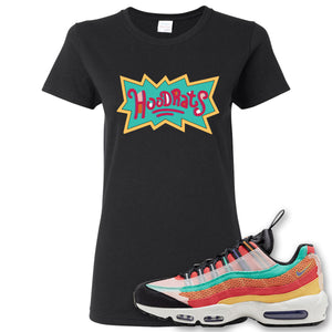 Air Max 95 Black History Month Sneaker Black Women's T Shirt | Women's Tees to match Nike Air Max 95 Black History Month Shoes | Hood Rats