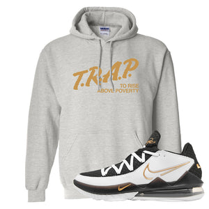 Lebron 17 Low White/Metallic Gold/Black Hoodie | Ash, Trap To Rise Above Poverty