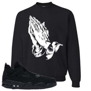 Air Jordan 4 Black Cat Praying Hands Black Made to Match Crewneck Sweatshirt