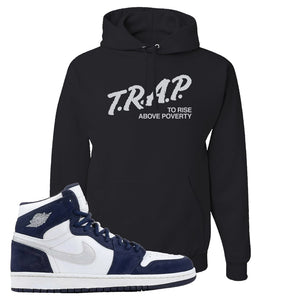 Air Jordan 1 Co.jp Midnight Navy Hoodie | Black, Trap To Rise Above Poverty