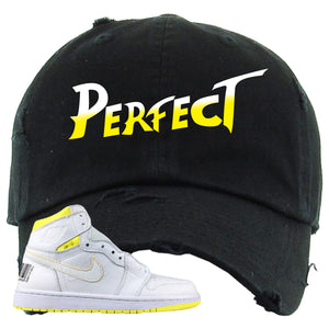 Air Jordan 1 First Class Flight Street Fight Perfect Black Sneaker Matching Distressed Dad Hat