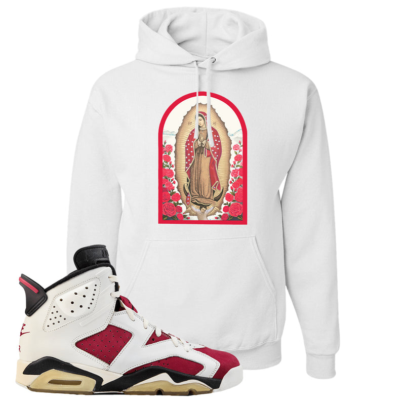 Jordan Jordan 6 Carmine Sneaker White Pullover Hoodie | Hoodie to match Nike Air Jordan 6 Carmine Shoes | Virgin Mary