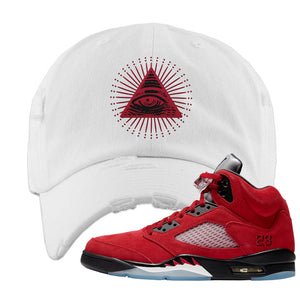 Air Jordan 5 Raging Bull Distressed Dad Hat | All Seeing Eye, White