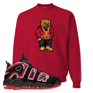Air More Uptempo Laser Crimson Crewneck Sweatshirt | Red, Biggie Bear