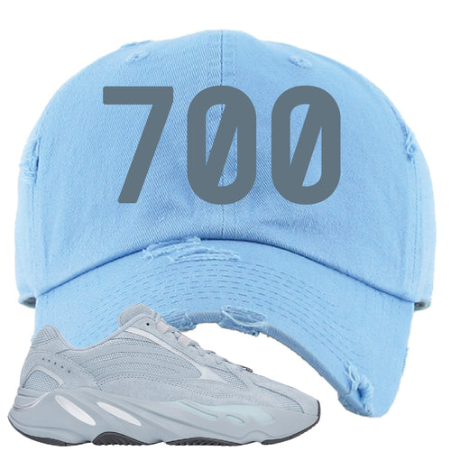 Yeezy Boost 700 V2 Hospital Blue 700 Sneaker Matching Sky Blue Distressed Dad Hat