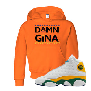 Damn Gina Safety Orange Kid's Pullover Hoodie to match Air Jordan 13 GS Playground Kids Sneakers
