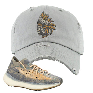 Yeezy Boost 380 Mist Sneaker Light Gray Distressed Dad Hat | Hat to match Adidas Yeezy Boost 380 Mist Shoes | Indian Chief