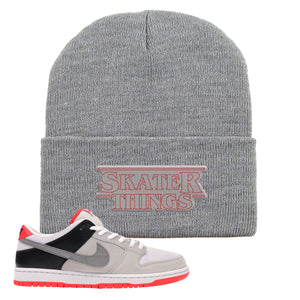 Nike SB Dunk Low Infrared Orange Label Skater Things Light Gray Beanie To Match Sneakers