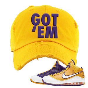 Lebron 7 'Media Day' Distressed Dad Hat | Gold, Got Em