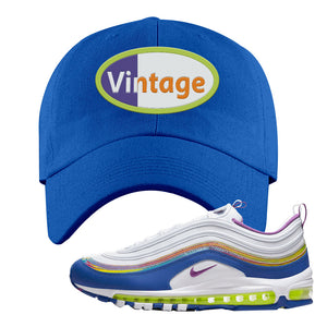Air Max 97 'Easter' Sneaker Royal Dad Hat | Hat to match Nike Air Max 97 'Easter' Shoes | Vintage Oval