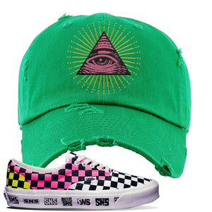 Vans Era Venice Beach Pack Distressed Dad Hat | Kelly Green, All Seeing Eye